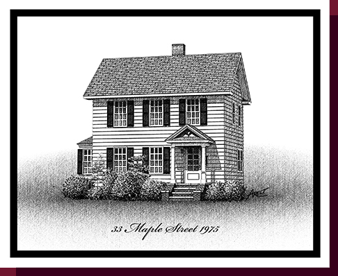 Home Portraits: Pen and Ink House Portraits, Renderings & Illustrations - Long Island Federal Pen & Ink House Portrait