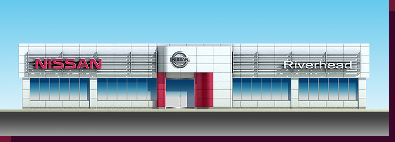 Architectural Rendering & 3D Computer Modeling - Colored Elevation - Proposed Nissan Dealership
