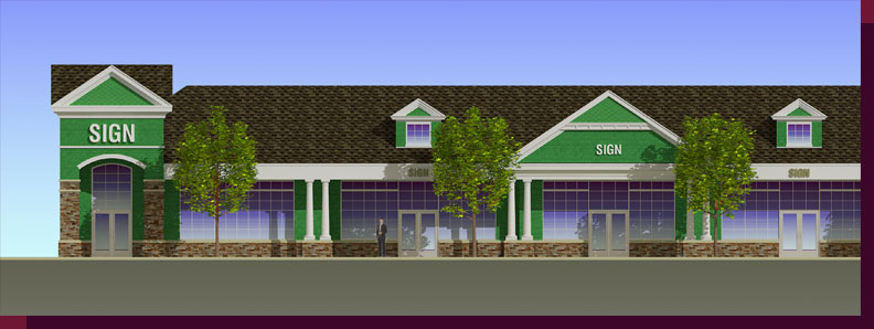 Architectural Rendering & 3D Computer Modeling - Colored Elevation - Proposed Shopping Center - View-2 - Close Up